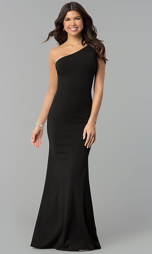 Image of long black one-shoulder mermaid prom dress. Style: MCR-2374 Front Image