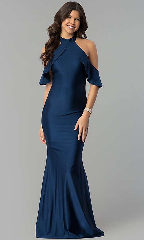 Image of navy high-neck cold-shoulder mermaid prom dress. Style: MCR-2383 Front Image