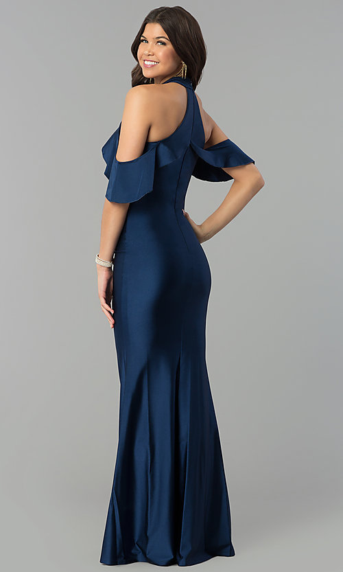 Image of navy high-neck cold-shoulder mermaid prom dress. Style: MCR-2383 Back Image