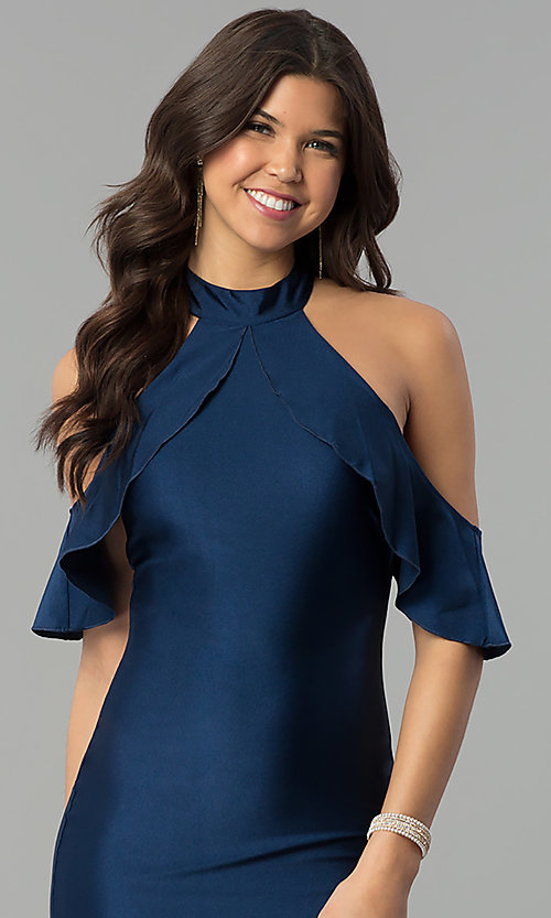 Image of navy high-neck cold-shoulder mermaid prom dress. Style: MCR-2383 Detail Image 1