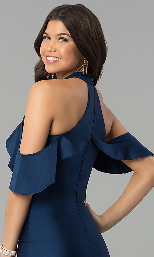 Image of navy high-neck cold-shoulder mermaid prom dress. Style: MCR-2383 Detail Image 2