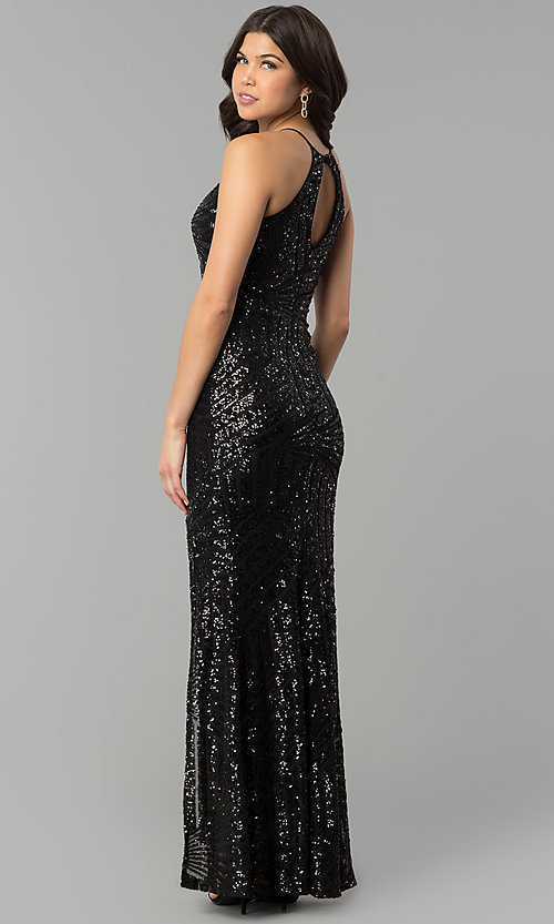 Image of long prom dress with art deco sequin design.  Style: MCR-2386 Back Image