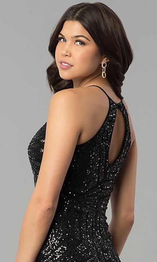 Image of long prom dress with art deco sequin design.  Style: MCR-2386 Detail Image 2