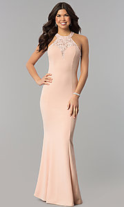 Image of sequin-lace racer-bodice long mermaid prom dress. Style: MCR-2476 Back Image
