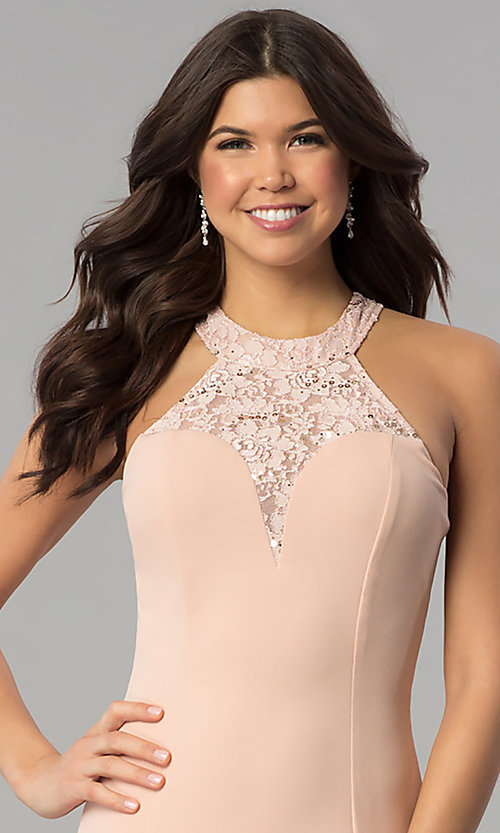 Image of sequin-lace racer-bodice long mermaid prom dress. Style: MCR-2476 Detail Image 1