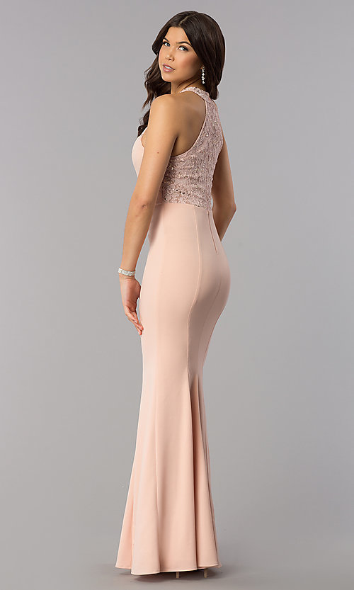 Image of sequin-lace racer-bodice long mermaid prom dress. Style: MCR-2476 Front Image