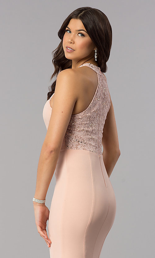 Image of sequin-lace racer-bodice long mermaid prom dress. Style: MCR-2476 Detail Image 2