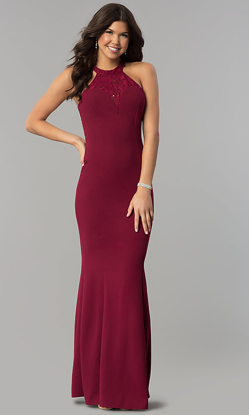Image of sequin-lace racer-bodice long mermaid prom dress. Style: MCR-2476 Detail Image 3