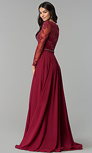 Image of embellished-bodice sleeved long formal dress. Style: CD-GL-G762 Back Image