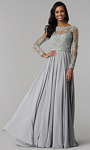 Image of embellished-bodice sleeved long formal dress. Style: CD-GL-G762 Front Image