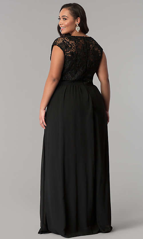 Chiffon And Lace V Neck Formal Plus Size Prom Dress