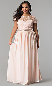 Image of short-sleeve lace-bodice long plus-size prom dress. Style: SOI-PD16266 Front Image