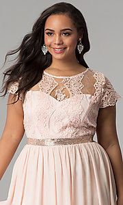 Image of short-sleeve lace-bodice long plus-size prom dress. Style: SOI-PD16266 Detail Image 1