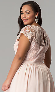 Image of short-sleeve lace-bodice long plus-size prom dress. Style: SOI-PD16266 Detail Image 2
