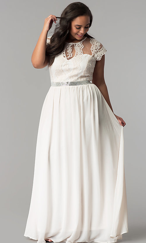 Image of short-sleeve lace-bodice long plus-size prom dress. Style: SOI-PD16266 Detail Image 3