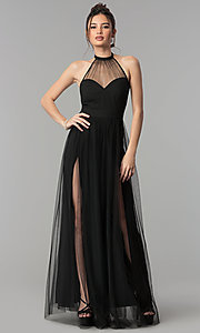Image of long prom dress with sheer high-neck halter. Style: LUX-LD4211 Front Image