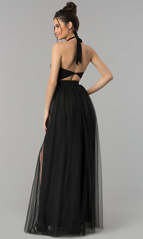 Image of long prom dress with sheer high-neck halter. Style: LUX-LD4211 Back Image