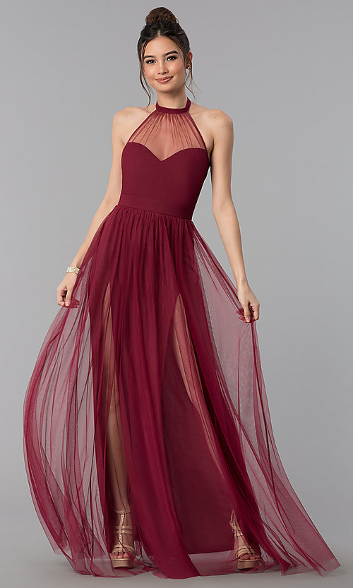 Long Sheer-High-Neck Halter Prom Dress