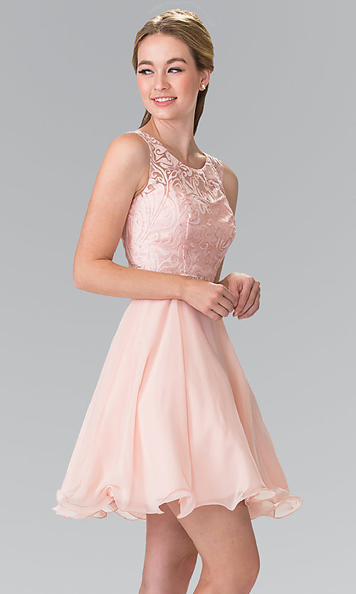 Image of illusion-bodice short chiffon wedding-guest dress. Style: FB-GS2314-v Detail Image 2