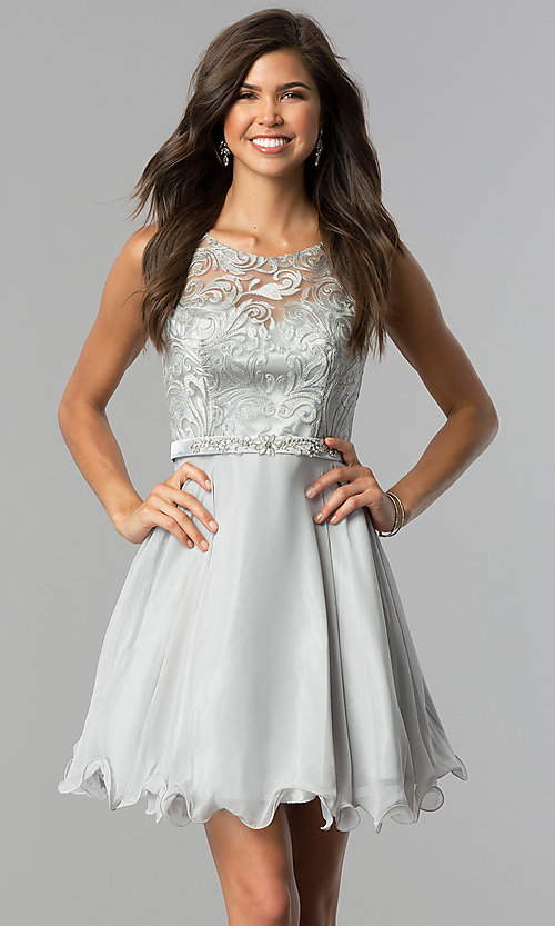 Image of illusion-bodice short chiffon wedding-guest dress. Style: FB-GS2314-v Detail Image 1