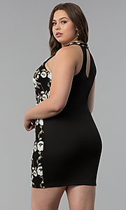 Image of embroidered high-neck plus-size party dress. Style: KIM-D22900B Back Image