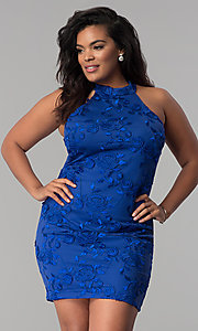 Image of embroidered high-neck plus-size party dress. Style: KIM-D22900B Detail Image 3