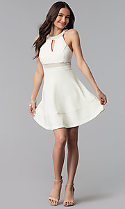 Image of short ivory graduation dress with beaded collar. Style: EM-ETX-1027-120 Detail Image 3