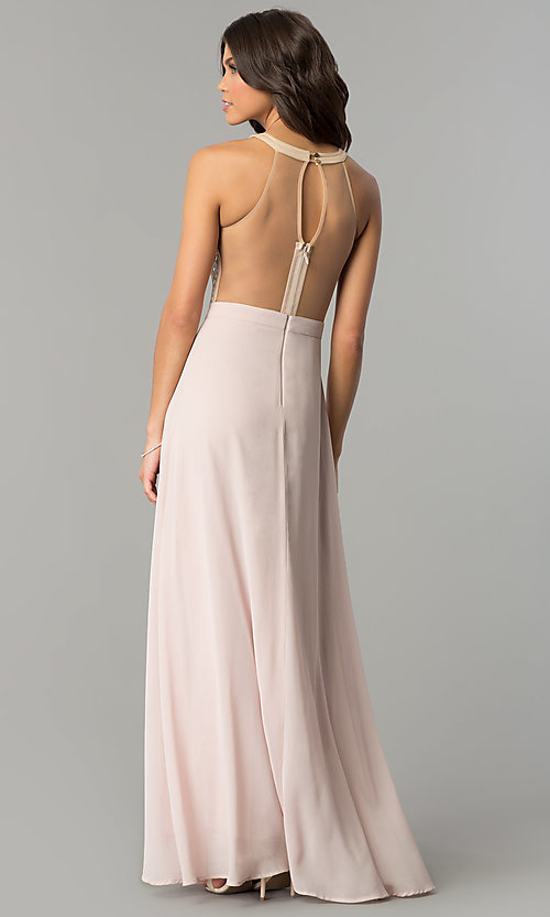 Image of beaded-illusion-bodice long dusty blush prom dress. Style: SOI-PL-M17330 Back Image