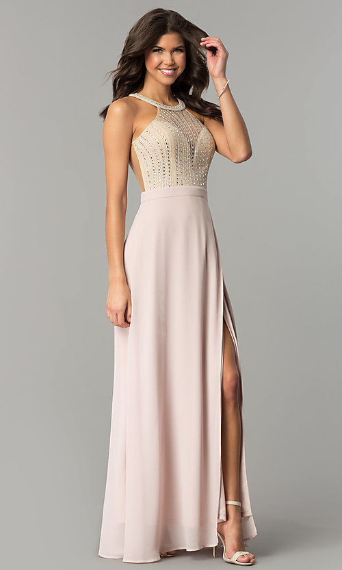 Image of beaded-illusion-bodice long dusty blush prom dress. Style: SOI-PL-M17330 Front Image