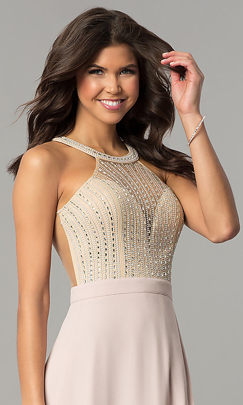 Image of beaded-illusion-bodice long dusty blush prom dress. Style: SOI-PL-M17330 Detail Image 1
