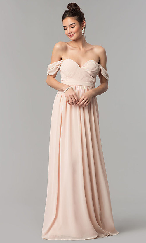 Image of ruched-sweetheart-bodice long chiffon prom dress. Style: LP-PL-24516 Detail Image 2