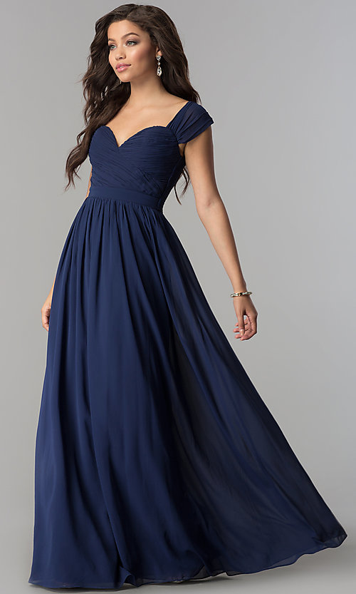 Image of ruched-sweetheart-bodice long chiffon prom dress. Style: LP-PL-24516 Front Image