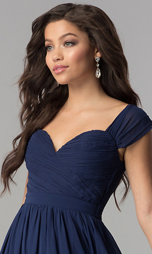 Image of ruched-sweetheart-bodice long chiffon prom dress. Style: LP-PL-24516 Detail Image 1
