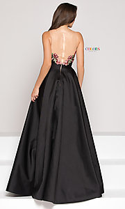 Image of floral-embroidered v-neck high-low prom dress. Style: CD-1811 Back Image