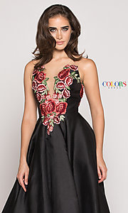 Image of floral-embroidered v-neck high-low prom dress. Style: CD-1811 Detail Image 1