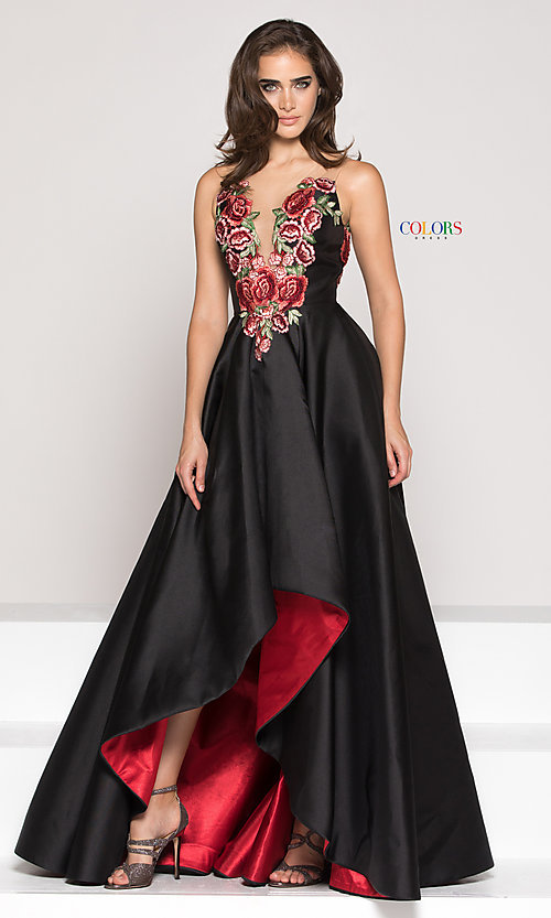 Image of floral-embroidered v-neck high-low prom dress. Style: CD-1811 Front Image