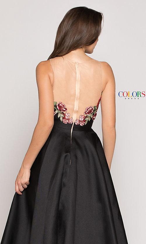 Image of floral-embroidered v-neck high-low prom dress. Style: CD-1811 Detail Image 2