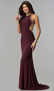 Image of long plum formal dress with beaded-illusion back. Style: JOJ-JE-18030 Back Image