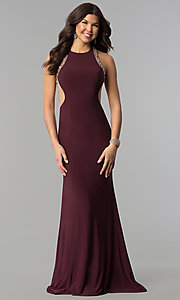 Image of long plum formal dress with beaded-illusion back. Style: JOJ-JE-18030 Detail Image 3
