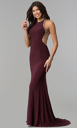 Shoptagr Long Plum Formal Dress With Beaded Illusion Back By