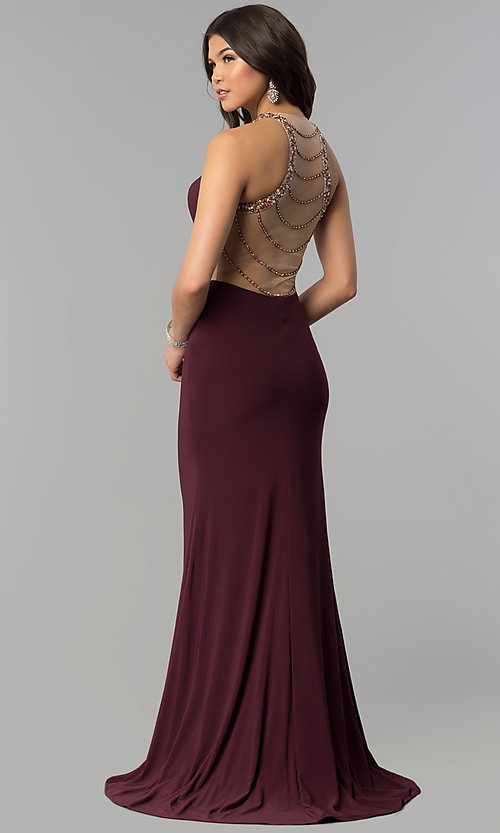 Image of long plum formal dress with beaded-illusion back. Style: JOJ-JE-18030 Front Image