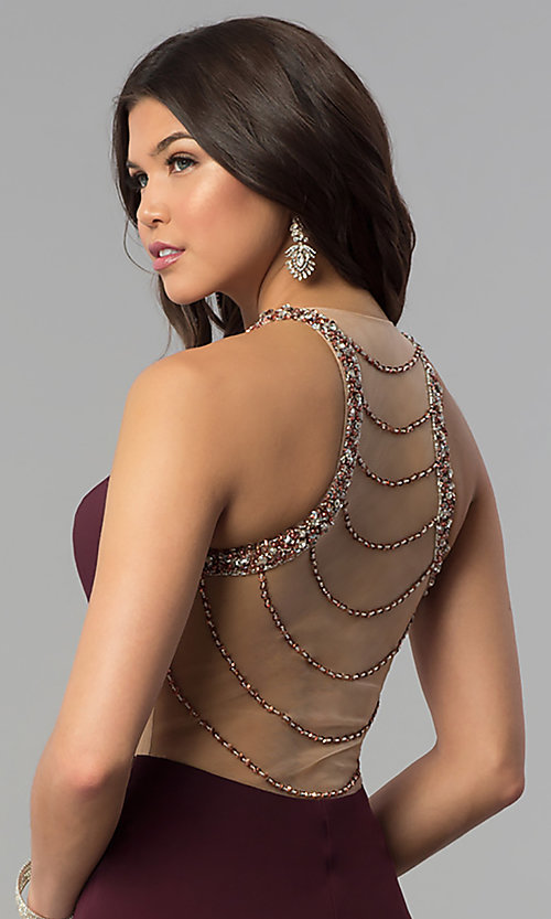 Image of long plum formal dress with beaded-illusion back. Style: JOJ-JE-18030 Detail Image 2