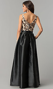 Image of long black prom dress with sequin v-neck bodice. Style: SOI-PL-M17255B09 Back Image