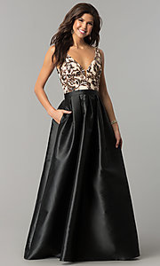 Image of long black prom dress with sequin v-neck bodice. Style: SOI-PL-M17255B09 Front Image