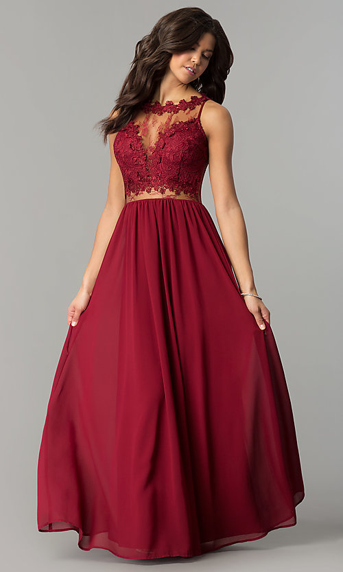 offerta speciale il più economico venduto in tutto il mondo Illusion-Lace-Bodice Long Wine Red Prom Dress