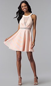 Image of short blush pink striped graduation party dress. Style: DMO-J320917 Detail Image 3