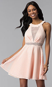 Image of short blush pink striped graduation party dress. Style: DMO-J320917 Front Image