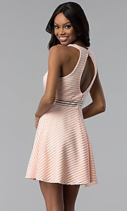 Image of short blush pink striped graduation party dress. Style: DMO-J320917 Back Image