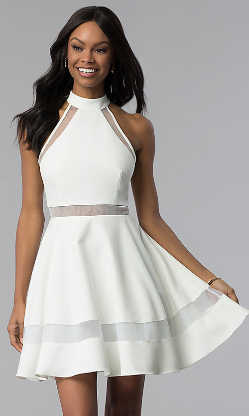 Image of high-neck short white cut-out graduation dress. Style: DMO-J320837 Front Image