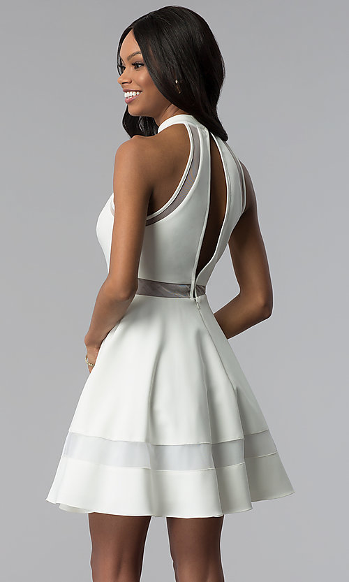 Image of high-neck short white cut-out graduation dress. Style: DMO-J320837 Back Image